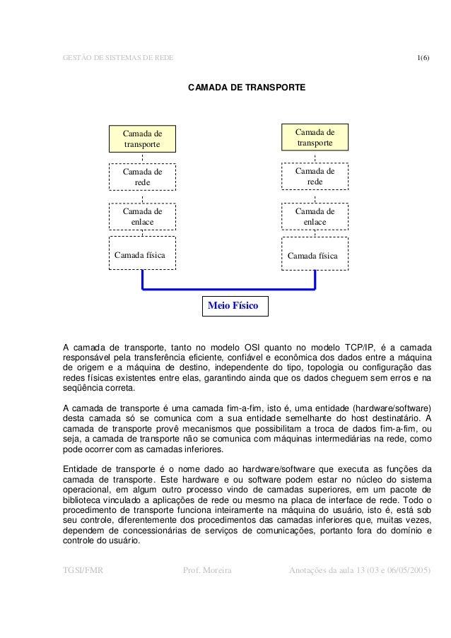 GESTÃO DE SISTEMAS DE REDE 1(6) TGSI/FMR Prof. Moreira Anotações da aula 13 (03 e 06/05/2005) CAMADA DE TRANSPORTE A camad...