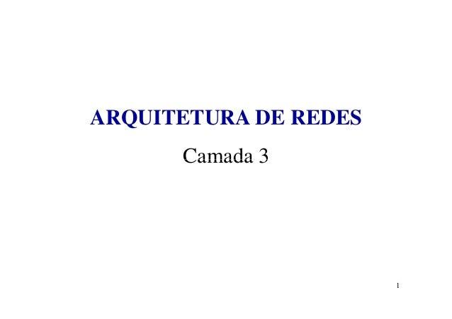 ARQUITETURA DE REDES Camada 3 1 Camada 3
