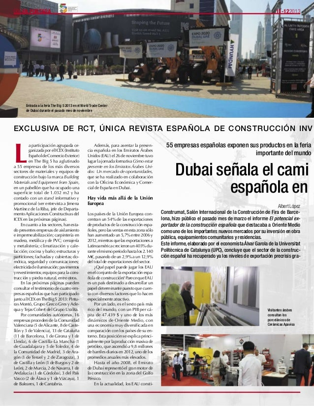 11-122013006EN PORTADA 55 empresas españolas exponen sus productos en la feria importante del mundo Dubai señala el cami e...