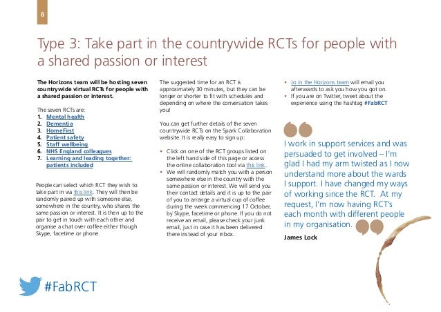 The Horizons team will be hosting seven countrywide virtual RCTs for people with a shared passion or interest. The seven R...