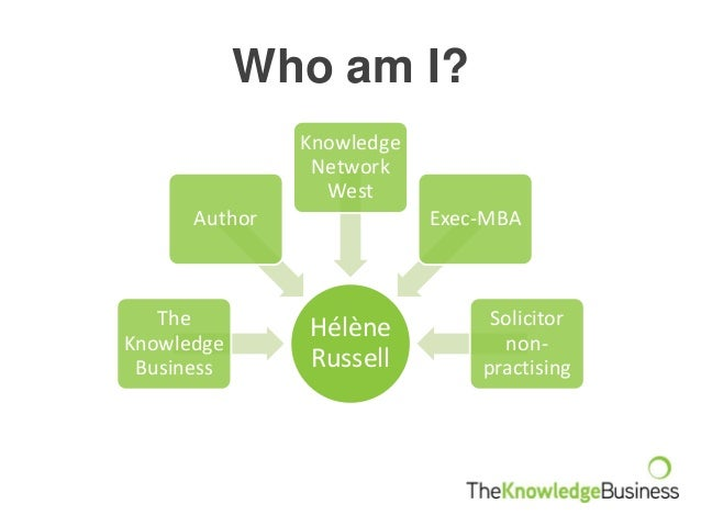 Who am I? Hélène Russell The Knowledge Business Author Knowledge Network West Exec-MBA Solicitor non- practising