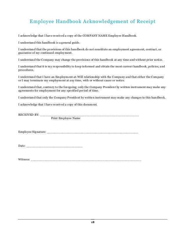 Employee Handbook Receipt. 26 New Employee Handbook Employee Brand ...