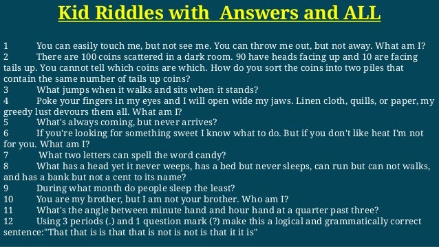 Kids Riddles With And Answers For Adult And All 3