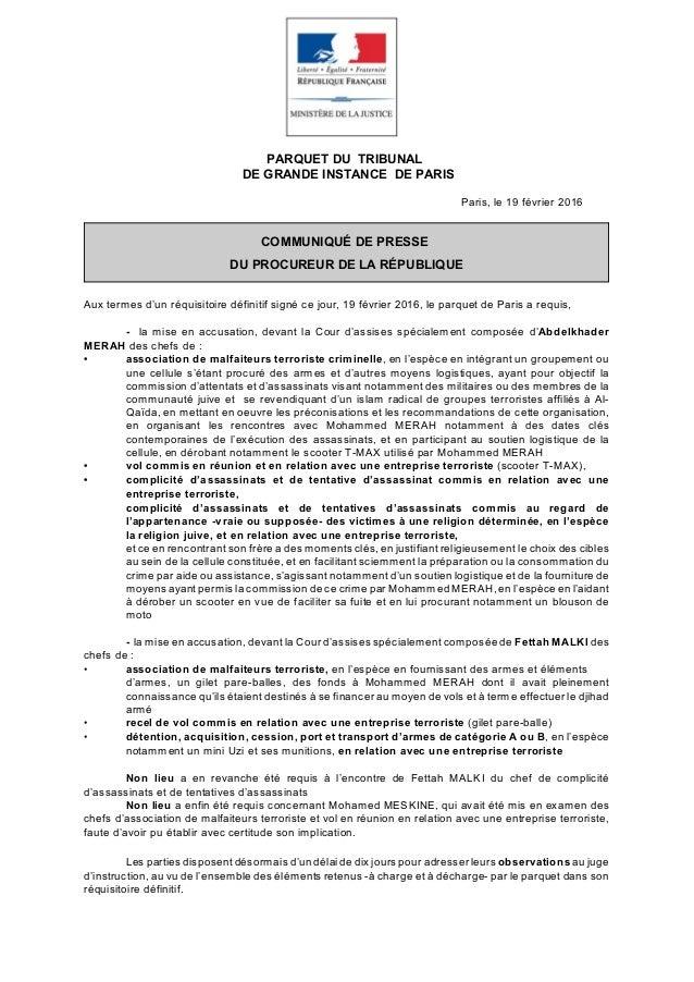 PARQUET DU TRIBUNAL DE GRANDE INSTANCE DE PARIS Paris, le 19 février 2016 COMMUNIQUÉ DE PRESSE DU PROCUREUR DE LA RÉPUBLIQ...