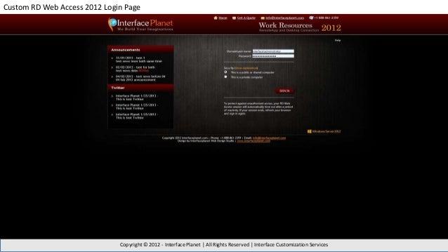 Custom Rd Web Access 2012