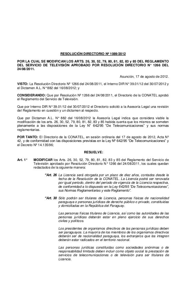 RESOLUCIÓN DIRECTORIO Nº 1089/2012 POR LA CUAL SE MODIFICAN LOS ARTS. 26, 30, 52, 79, 80, 81, 82, 83 y 85 DEL REGLAMENTO D...