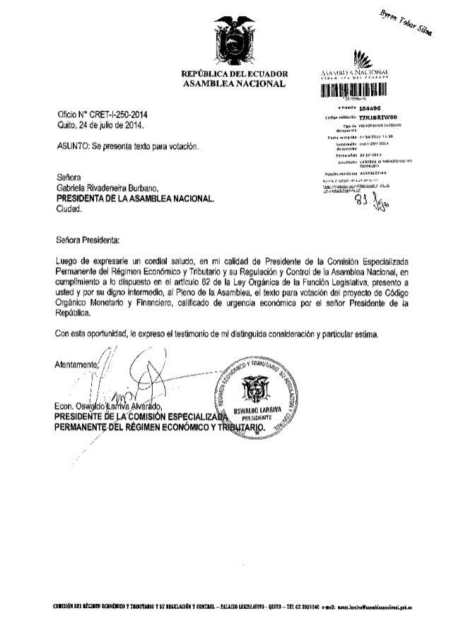 REPTBLICA DEL DCUADoR ASAMBLEA NACIONAL oic o N' CRET- -250-2014 Cuilo, 24 delulio de 2014. ASUNTo: Se prcs€nla lexlo para...