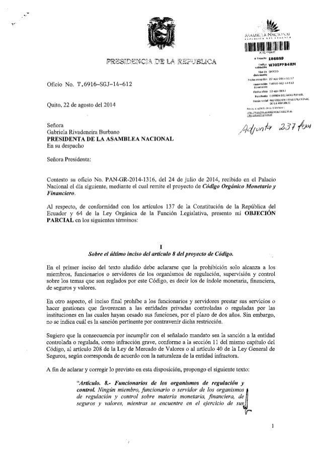 """L-""""RDsi.fi.q$Cll1 J-.E L.A ilJii,JdLICA  Oficio No. T.6916-SGJ-L4-6L2  Quito, 22 de agosto del2014  Seffom  Gabriela Rivad..."""
