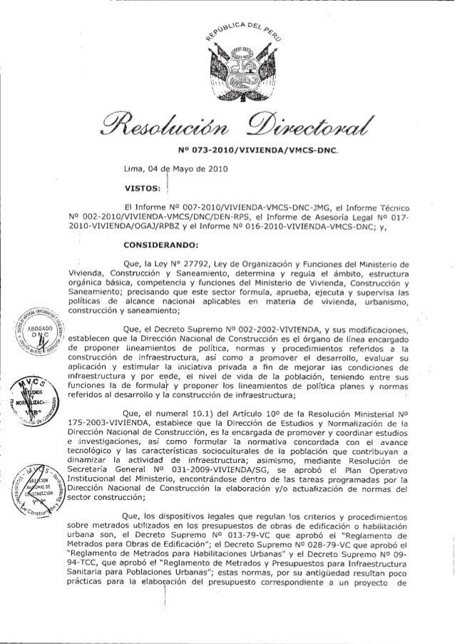 Viceministerio deConstrucción y SaneamientoDirección Nacional deConstrucciónNORMA TÉCNICAMETRADOS PARA OBRAS DE EDIFICACIÓ...