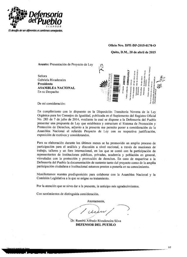 De ensoría de Pueblo  ECUADOR  fl desafio ae ser diferentes es sentimos semejantes.   Oficio Nro.  DPE-DP-2015-0170-O Quito, ...