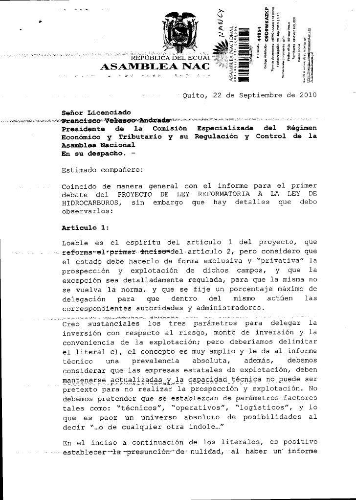 OBSERVACIONES A PROYECTO DE LEY DE HIDROCARBUROS