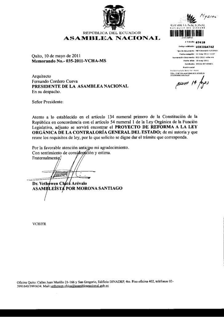PROYECTO REFORMA A LEY ORGNICA DE LA CONTRALORIA GENERAL DEL ESTADO
