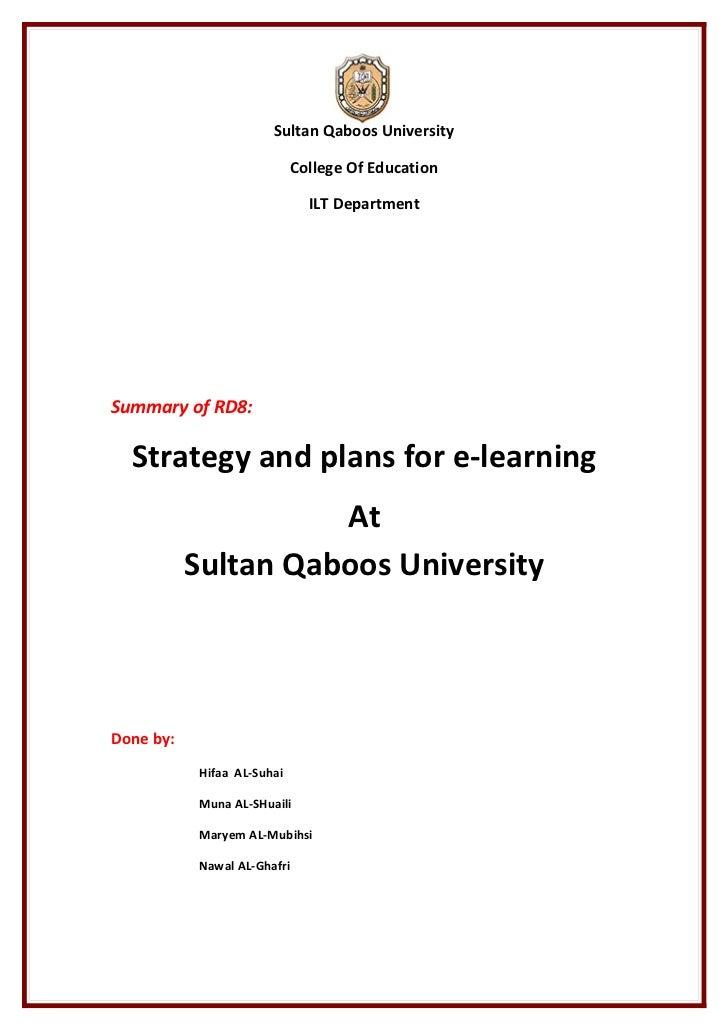 Sultan Qaboos University                            College Of Education                              ILT DepartmentSummar...