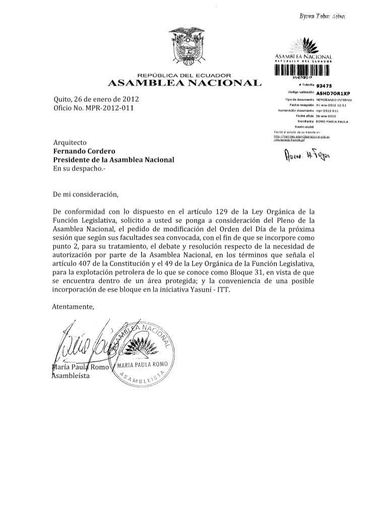 Resolución Autorización de la Asamblea Nacional para la explotación petrolera del Bloque 31