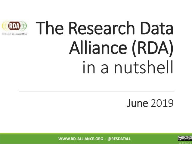 The Research Data Alliance (RDA) in a nutshell June 2019 WWW.RD-ALLIANCE.ORG - @RESDATALL CC BY-SA 4.0