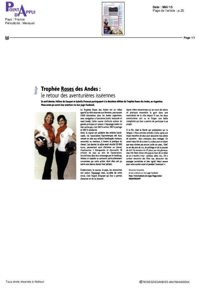 Date : MAI 15 Pays : France Périodicité : Mensuel Page de l'article : p.25 Page 1/1 ROSESDESANDES 4647804400504Tous droits...