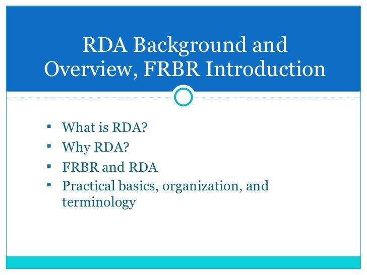 RDA (Resource Description & Access) Slide 3