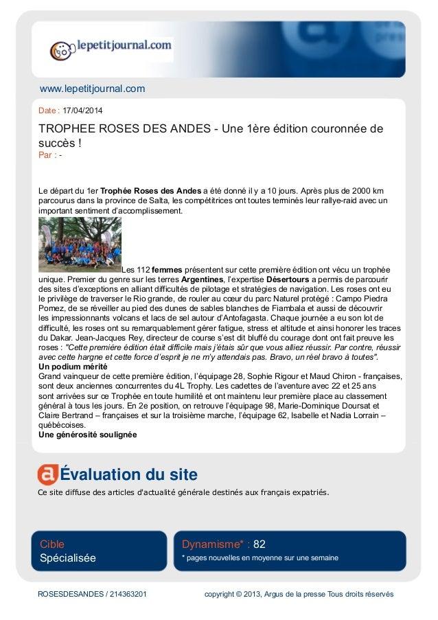 www.lepetitjournal.com Évaluation du site Ce site diffuse des articles d'actualité générale destinés aux français expatrié...