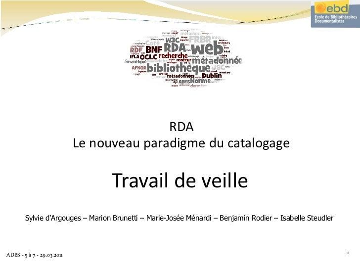 Travail de veille RDA Le nouveau paradigme du catalogage Sylvie d'Argouges – Marion Brunetti – Marie-Josée Ménardi – Benja...