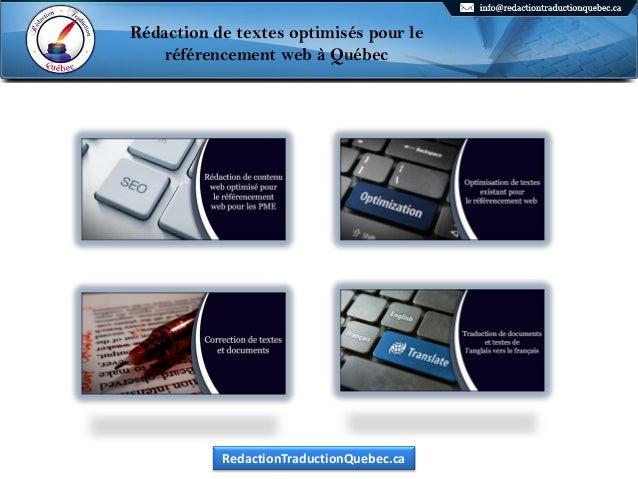 Rédaction de textes optimisés pour le référencement web à Québec Rédaction de textes optimisés pour le référencement web à...