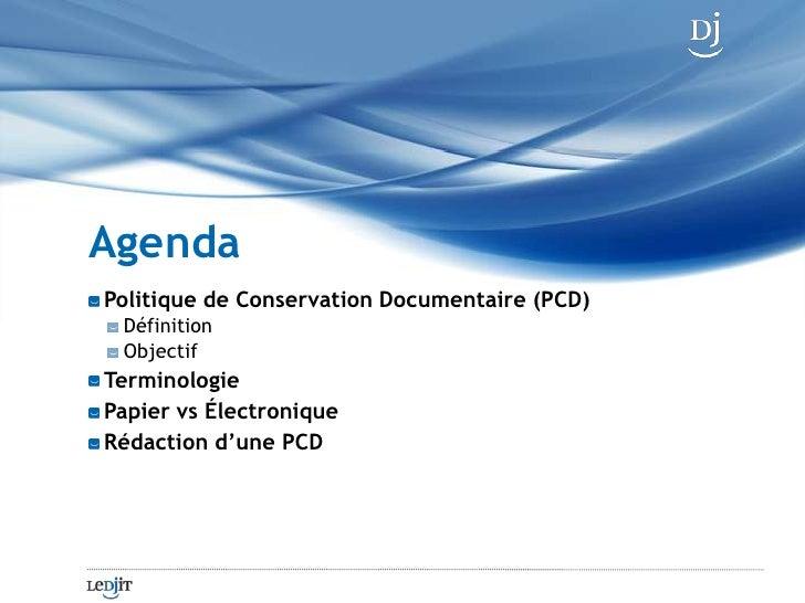 Rédaction et mise en place d'une politique de gestion de l'information Slide 2