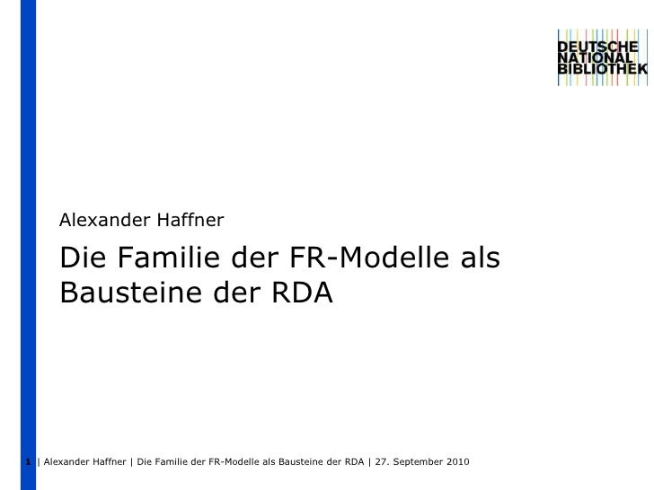 Die Familie der FR-Modelle als Bausteine der RDA