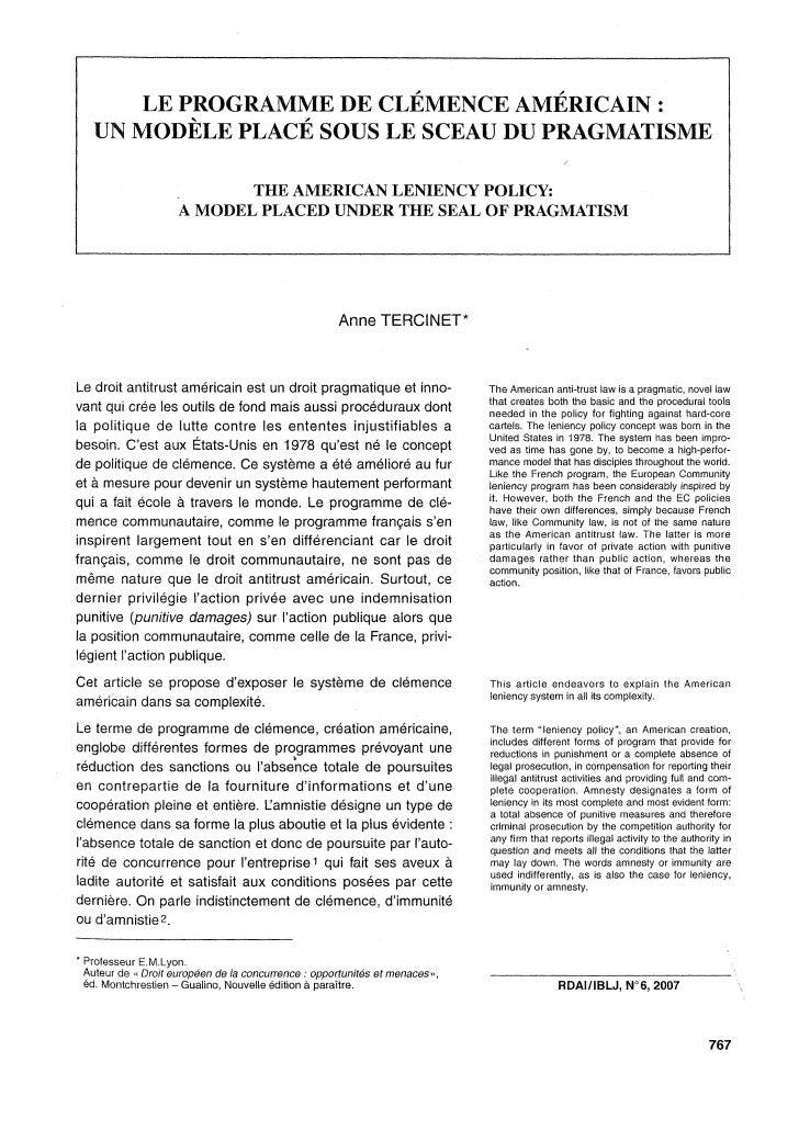 Le programme de clémence Américain/The American Leniency Policy, RDAI/IBLJ 2007n°6, pp.767-785.