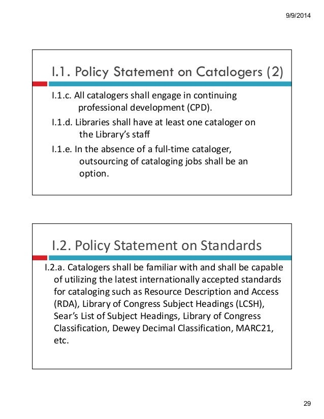 Rda Policy Statement And Guidelines For Phil Libraries