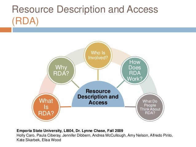 Resource Description and Access (RDA) Resource Description and AccessWhat Is RDA? Why RDA? Who Is Involved? How Does RDA W...