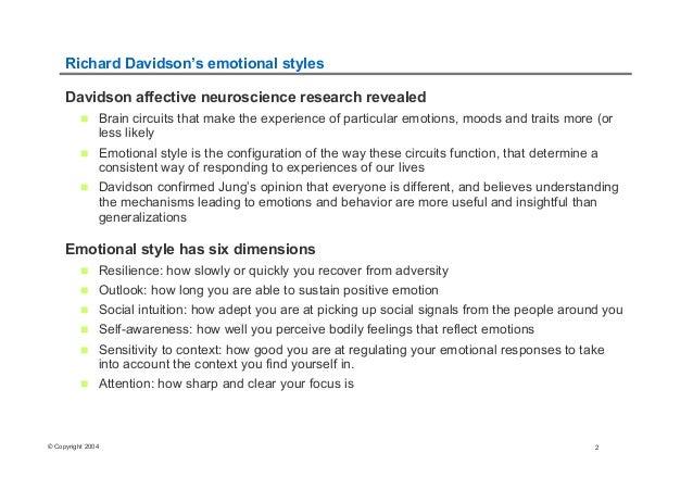 Richard Davidson's Emotional Styles Slide 2