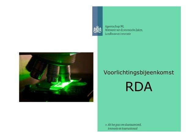 Voorlichtingsbijeenkomst RDA