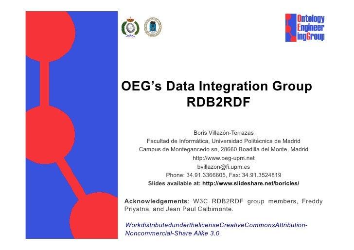 OEG's Data Integration Group         RDB2RDF                        Boris Villazón-Terrazas      Facultad de Informática, ...