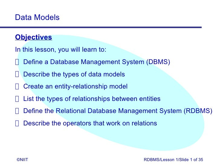 Data ModelsObjectivesIn this lesson, you will learn to: Define a Database Management System (DBMS) Describe the types of d...