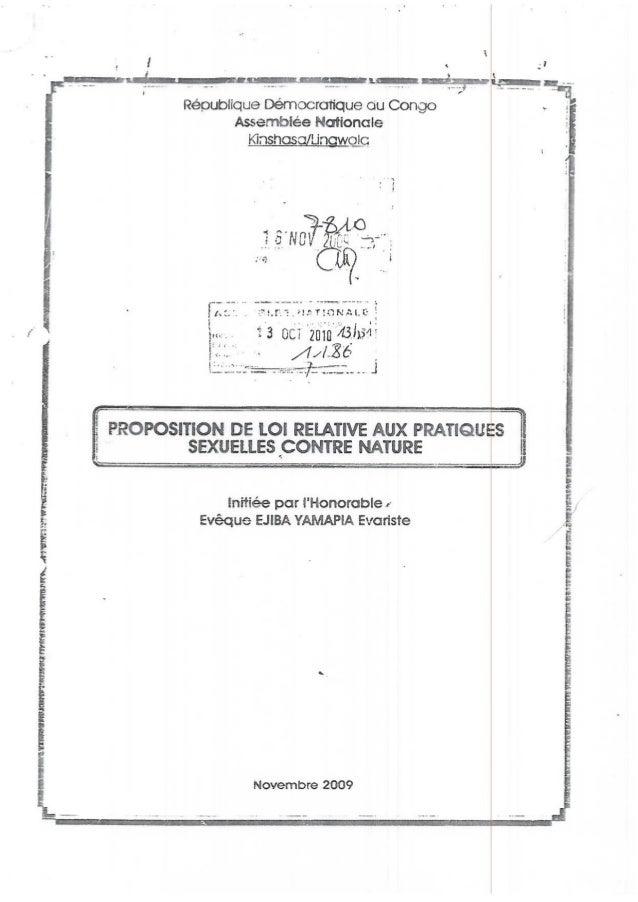 """Proposition de loi """"Pratiques sexuelles contre nature"""" RD Congo, 2009-2010"""