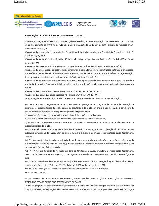 Legislação em Vigilância Sanitária RESOLUÇÃO - RDC Nº. 50, DE 21 DE FEVEREIRO DE 2002. Art. 1º - Aprovar o Regulamento Téc...