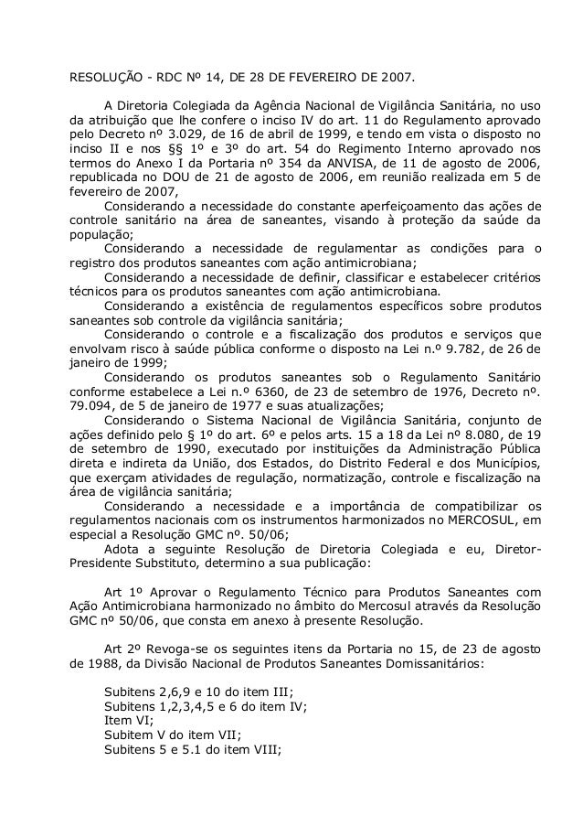 RESOLUÇÃO - RDC Nº 14, DE 28 DE FEVEREIRO DE 2007. A Diretoria Colegiada da Agência Nacional de Vigilância Sanitária, no u...