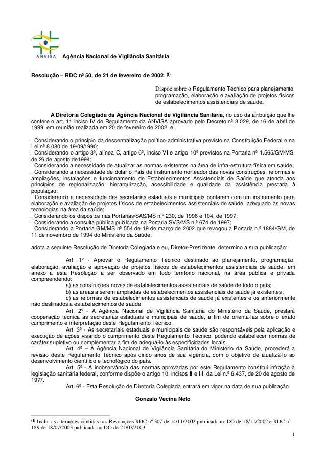 Agência Nacional de Vigilância Sanitária Resolução – RDC nº 50, de 21 de fevereiro de 2002. (I)  Dispõe sobre o Regulament...