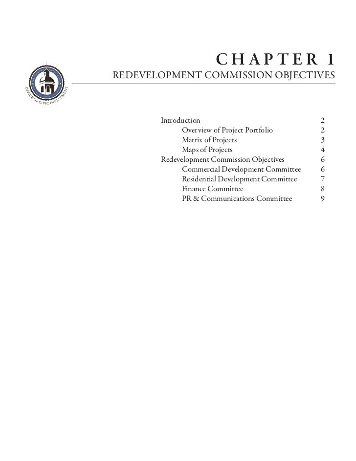 CHAPTER 1REDEVELOPMENT COMMISSION OBJECTIVES       Introduction                              2             Overview of Pro...