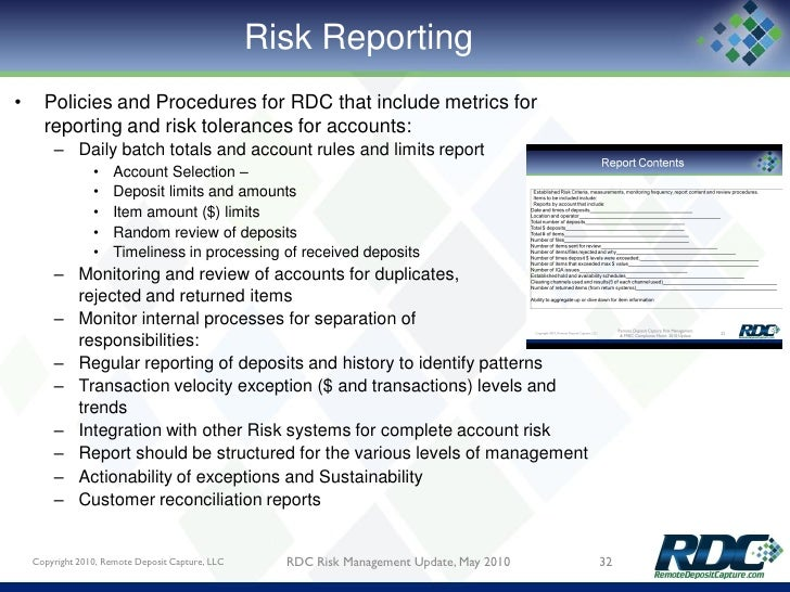 Remote Deposit Capture Risk Management May 2010 Update