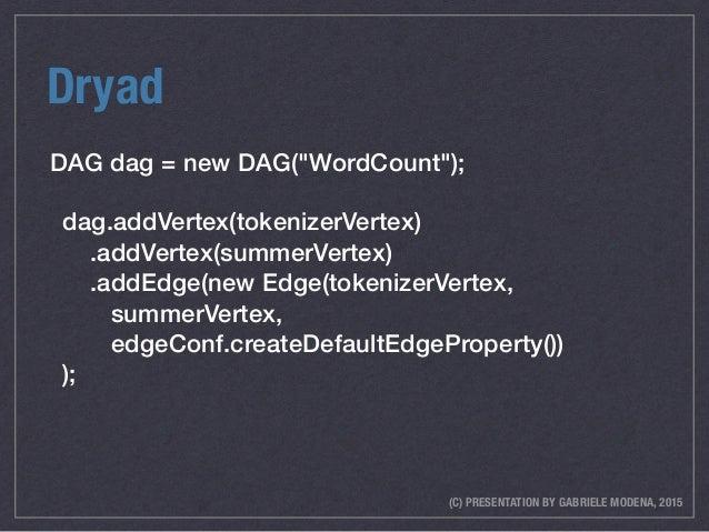 """(C) PRESENTATION BY GABRIELE MODENA, 2015 Dryad DAG dag = new DAG(""""WordCount""""); dag.addVertex(tokenizerVertex) .addVertex..."""