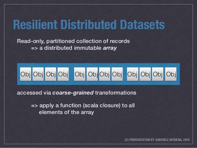 (C) PRESENTATION BY GABRIELE MODENA, 2015 Resilient Distributed Datasets Read-only, partitioned collection of records => ...