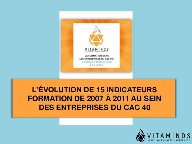 L'ÉVOLUTION DE 15 INDICATEURSFORMATION DE 2007 À 2011 AU SEIN   DES ENTREPRISES DU CAC 40