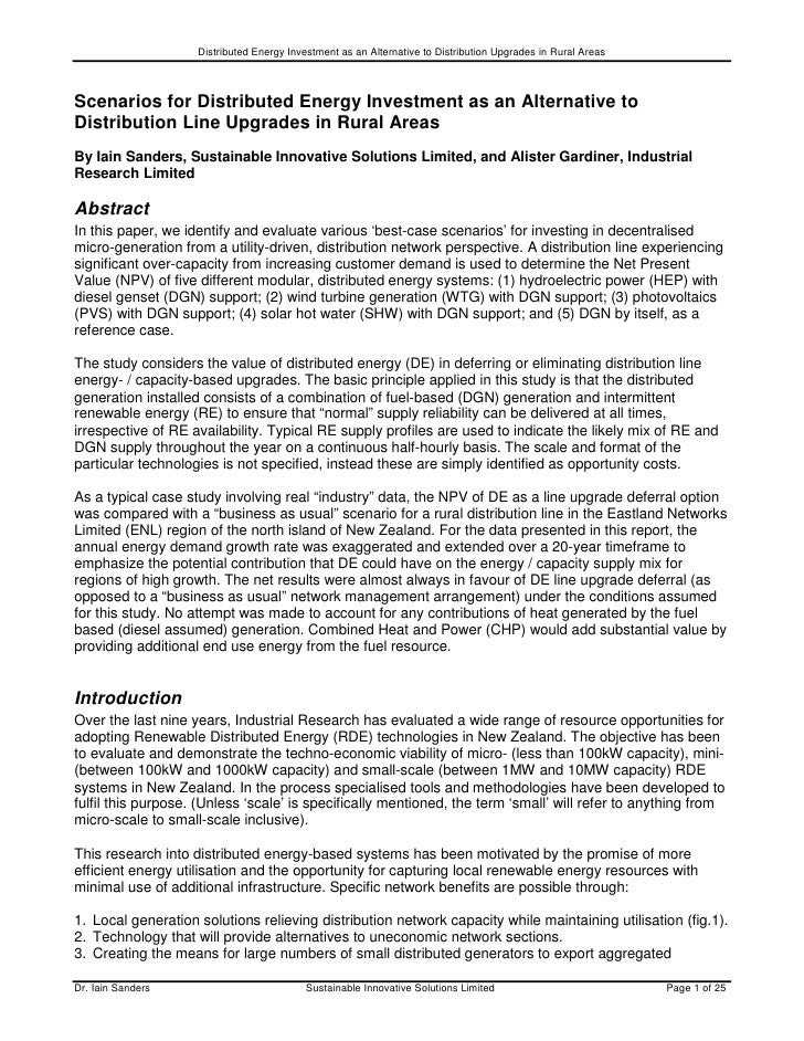 Distributed Energy Investment as an Alternative to Distribution Upgrades in Rural AreasScenarios for Distributed Energy In...