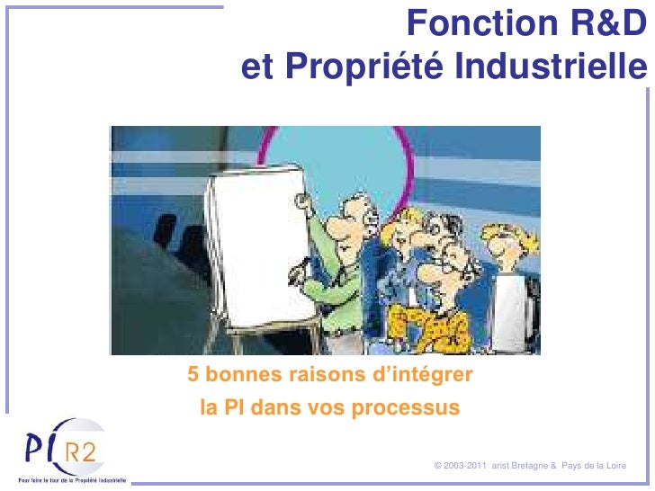 Fonction R&D     et Propriété Industrielle5 bonnes raisons d'intégrer la PI dans vos processus                       © 200...