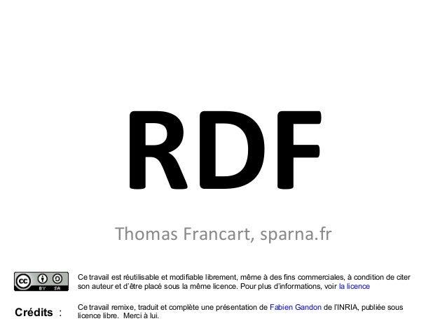 RDFThomas Francart, sparna.frCe travail est réutilisable et modifiable librement, même à des fins commerciales, à conditio...