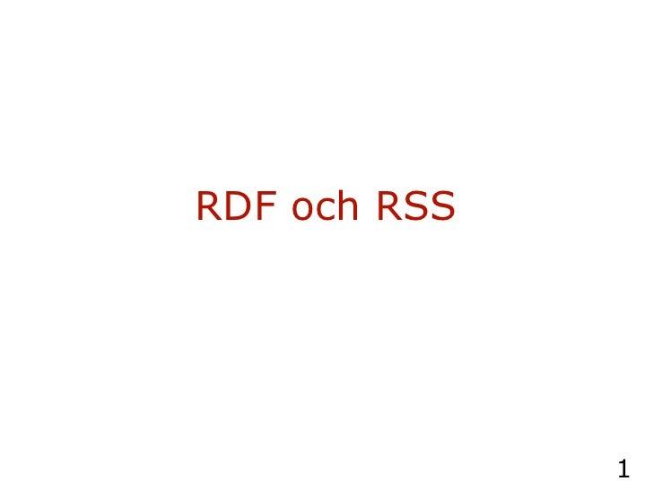 RDF och RSS