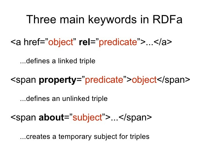 """Three main keywords in RDFa <a href="""" object """"  rel ="""" predicate """">...</a> ...defines a linked triple <span  property ="""" p..."""