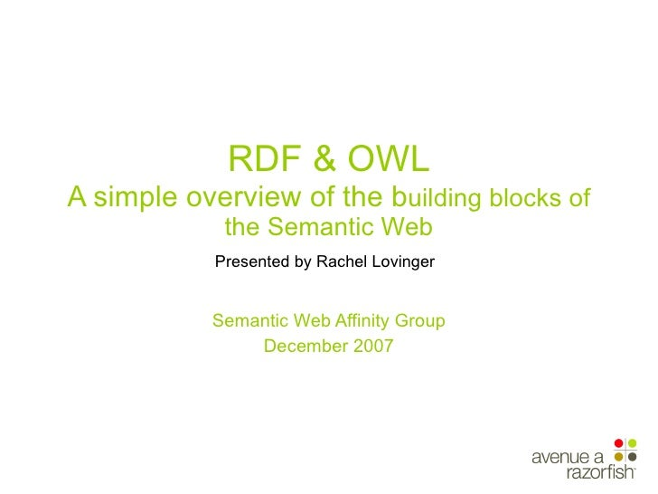RDF & OWL A simple overview of the b uilding blocks of the Semantic Web Presented by Rachel Lovinger   Semantic Web Affini...