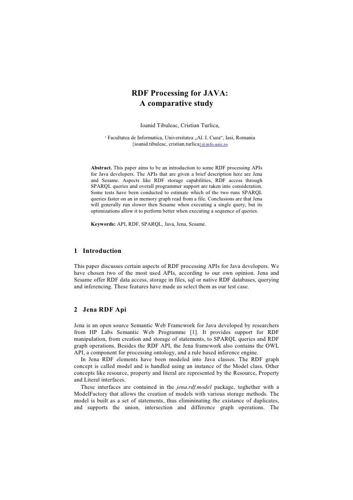 RDF Processing for JAVA:                              A comparative study                                  Ioanid Tibuleac...