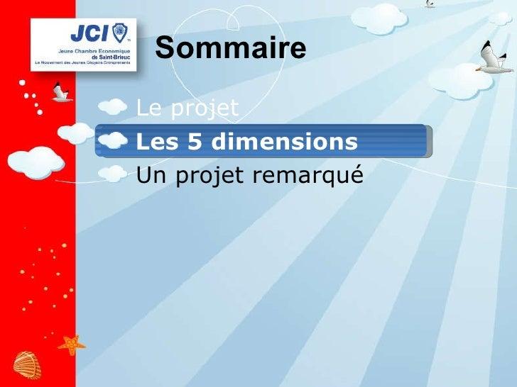 Sommaire <ul><li>Le projet </li></ul><ul><li>Les 5 dimensions </li></ul><ul><li>Un projet remarqué </li></ul>